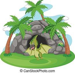 地位, 恐竜, 洞穴, イラスト, 前部