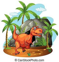 地位, 恐竜, 洞穴, 前部