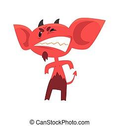 地位, 悪魔, モンスター, 大きい, 脅すこと, tail., 怒る, ポーズを取りなさい, 悪魔, 架空である, teeth., 角, 耳, 地獄, 漫画, 提示, 赤