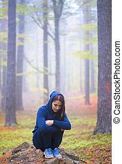 地位, 憂うつにされた, 女, 単独で, 森林