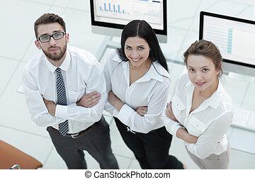 地位, 成功した, 仕事場, ビジネス チーム