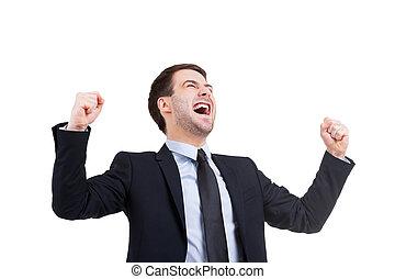 地位, 成功した, positivity, 若い, formalwear, 隔離された, 間, businessman., 表現, 白, 人, ジェスチャーで表現する, 幸せ