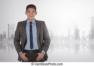 地位, 手, アジア人, ポケット, 肖像画, ビジネスマン