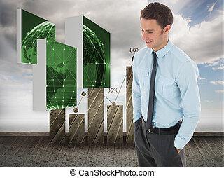 地位, 手, 統計値, 背景, に対して, ポケット, ビジネスマン, 空, 幸せ
