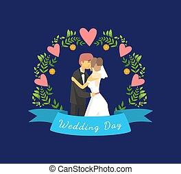 地位, 新婚者, 結婚されている, ただ, アーチ, 花婿, イラスト, 恋人, 花嫁, ベクトル, に対して, テンプレート, 結婚式, 花の旗, 日, 幸せ