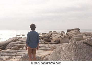 地位, 日当たりが良い, コーカサス人, 人, 浜, 日
