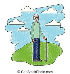 地位, 杖, おじいさん, 風景
