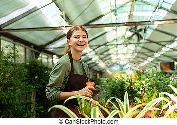 地位, 植物, 女, 温室, イメージ, 水まき, スプレーヤー, かなり, 花, 上に, 庭師