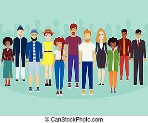地位, 概念, グループ, multiethnic, 人々, 共同体, 一緒に, 一緒