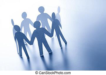 地位, 概念, ビジネス 人々, 手。, 一緒に, 手, チーム, 接続, ペーパー, glabal
