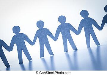地位, 概念, ビジネス, 社会, 人々, 手。, 一緒に, 手, チーム, ペーパー