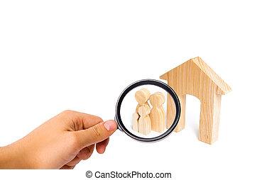 地位, 概念, 家族, 家, 継続, 家族, house., 若い, 拡大する, 見る ガラス, family., 新しい, 強い, 子供, 木製である