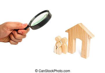 地位, 概念, 家族, 木製の家, 家族, house., 若い, 拡大する, 見る ガラス, family., 新しい, 強い, 継続, 子供