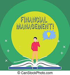 地位, 概念, 財政, ビジネス, 泡, 制御, テキスト, 頭, 本, 執筆, の後ろ, スピーチ, 資源, 単語, 鋭い, モニタリング, 手オープン, bulb., management., 人