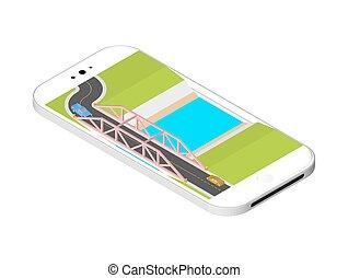 地位, 橋, 等大, smartphone, 上に, 隔離された, イラスト, screen., バックグラウンド。, ベクトル, 白, 川, 道
