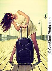 地位, 毛, 女, スーツケース, windblown