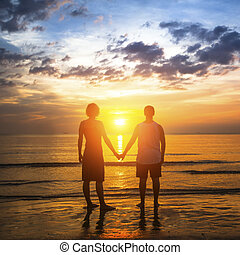 地位, 浜, 恋人, 新婚旅行, 若い, トロピカル, 驚かせること, の間, 白熱, sunset.