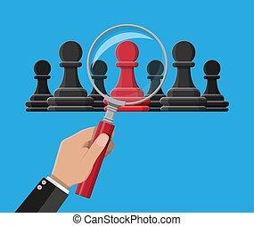 地位, 灰色, ポーン, ones., チェス, 独特, 赤