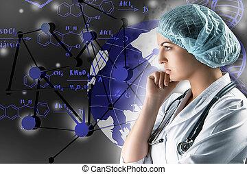 地位, 灰色, 科学, 医者, コラージュ, 若い, に対して, topics., 女性, 背景
