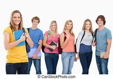 地位, 生徒, 1(人・つ), 前部, 彼ら, 大学, 女の子, 見なさい, それら, グループ, 微笑, カメラ,...