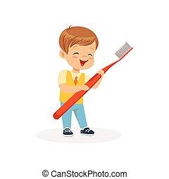 地位, 男の子, かわいい, 歯ブラシ, 特徴, イラスト, ベクトル, 大きい, 微笑, 漫画