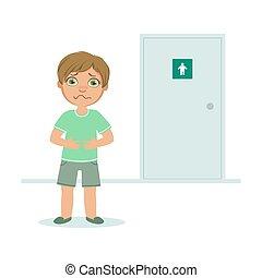 地位, 男の子, フルである, wc, 小便, 膀胱, イラスト, ベクトル, 不十分である, 玄関, 子供