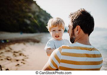 地位, 男の子, 夏, 父, holiday., よちよち歩きの子, 浜, 後部光景