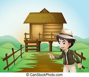 地位, 男の子, 小屋, 帽子, nipa