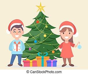 地位, 男の子, 帽子, claus, 木, クリスマス, santa, 女の子, 飾られる