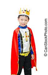 地位, 男の子, 服を着せられる, 上に, アジア人, スーツ, 白, 王子, bac