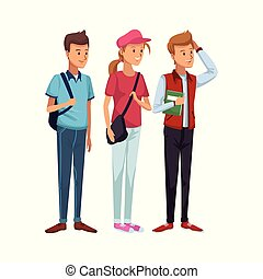 地位, 男性, カラフルである, 生徒, 帽子, 偶然, 袋, 女の子, 側, 衣服