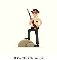地位, 町, 警察, 保安官, 警官, 市民, ライフル銃, 役人, 特徴, イラスト, ユニフォーム, 実行, ベクトル, 士官, 背景, 白い男性, 判断