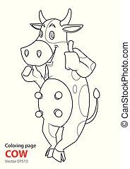 地位, 着色, 牛, ページ, 微笑。, 漫画