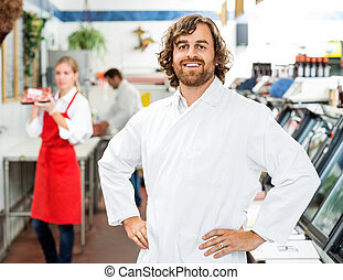 地位, 確信した, 店, 肉屋, 肖像画