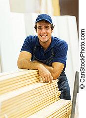 地位, 積み重ねられた, 労働者, 次に, ハードウェア, 木, 店