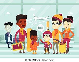 地位, 空港, multiethnic, 冬, 観光客
