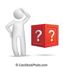 地位, 箱, 人々, 質問, 前部, 3d