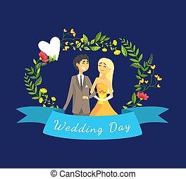 地位, 結婚されている, ただ, アーチ, 花婿, イラスト, 恋人, 花嫁, ベクトル, に対して, テンプレート, 結婚式, 花の旗, 日, 幸せ