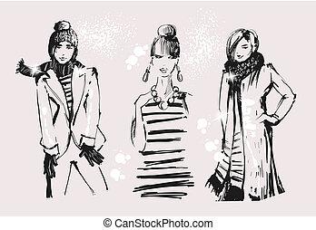 地位, 美しい, セット, グループ, 成人, 人々, 女の子, 若い, clothes., ベクトル, 魅力的, 女性, 流行, ライフスタイル, ファッション, 偶然, illustrations.