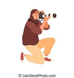 地位, 膝, 保有物, illustration., レンズ, 望遠レンズ, 装置, 写真うつりする, dslr, マレ, 平ら, 現代, 隔離された, ベクトル, 専門家, レポーター, 写真, 白, 微笑, 取得, カメラ, カメラマン