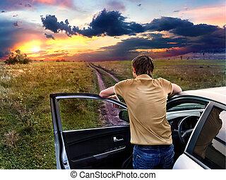 地位, 自動車, 人, 見る, 日没