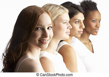 地位, 若い, 4, スタジオ, 魅力的, 肖像画, 線, 女性