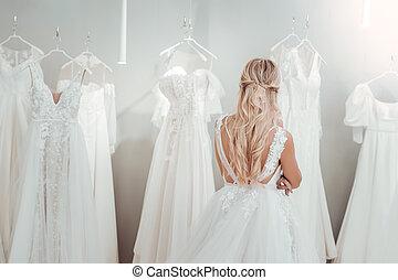 地位, 若い, dresses., 花嫁, 結婚式, 前部