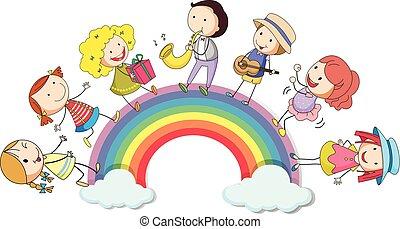 地位, 虹, 上に, 人々