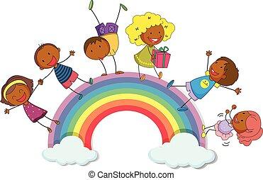 地位, 虹, 子供, 幸せ