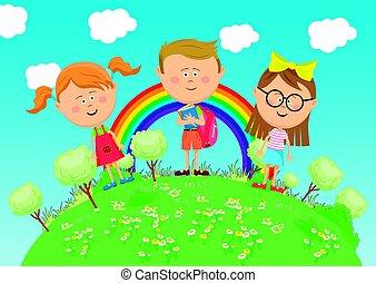 地位, 虹, 学校, グループ, 上に, 木, 緑地球, 子供