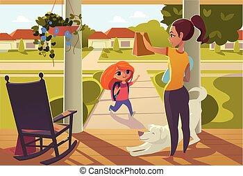 地位, 見る, 学校, 離れて, 彼女, ポーチ, sends, 母, 日当たりが良い, 家, dog., 朗らかである, 明るい, 通り, snack., 椅子, 娘, 動揺, 朝, 白