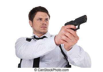 地位, 角度, bodyguard., 光景, 若い, 隔離された, 確信した, 間, 低い, 銃, 白, 狙いを定める, 人