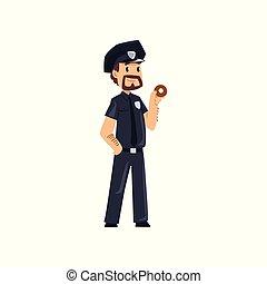 地位, 警察, ドーナツ, 警官, 特徴, イラスト, ベクトル, 士官, 背景, 白, 漫画