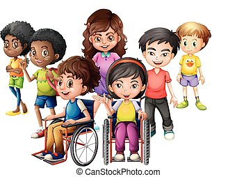 地位, 車椅子, 子供, 幸せ